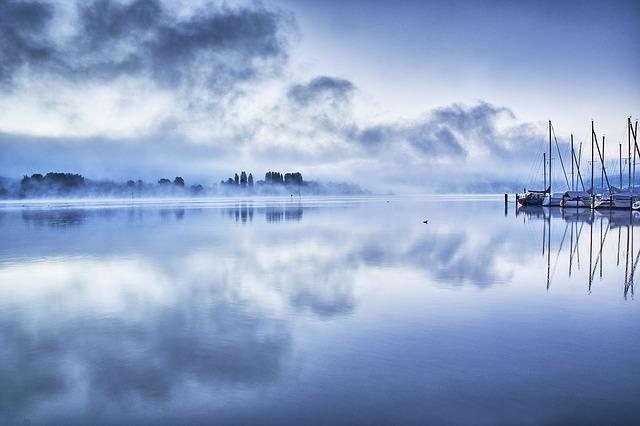 bodamské jezero a mraky
